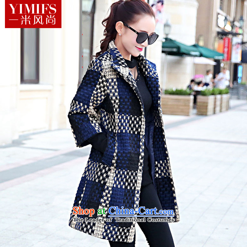 One meter by 2015 winter clothing new style for women Korean fashion Sau San a wool coat 7 cuff latticed han bum gross? Jacket Color Navy M