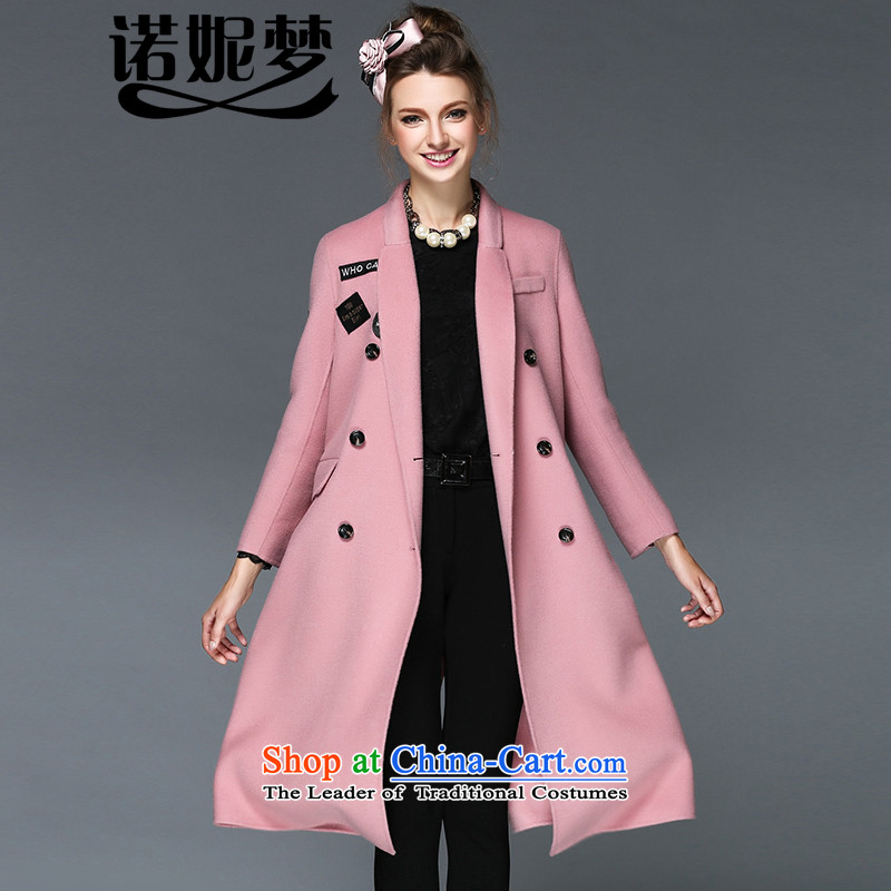 The new 2015 Dream Connie high-end large Western women fall to increase expertise with stylish mm long woolen coat gross? female G-q171 jacket and pink4XL