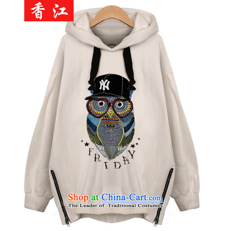 Xiang Jiang 2015 new autumn replacing xl women wear shirts thick mm long-sleeved T-shirt shirt 200 catties thick sister sweater girl jacket 7715 Light Gray large XL, Hong Kong has been pressed shopping on the Internet