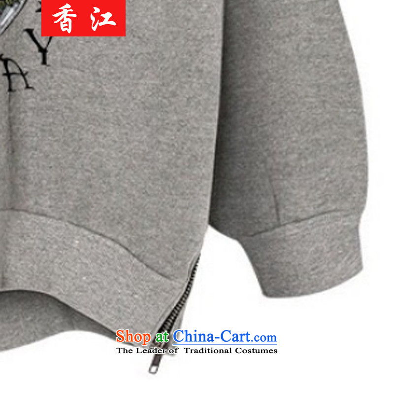Xiang Jiang2015 new autumn replacing xl women wear shirts thick mm long-sleeved T-shirt shirt 200 catties thick sister sweater girl jacket7715Light Gray large XL, Hong Kong has been pressed shopping on the Internet