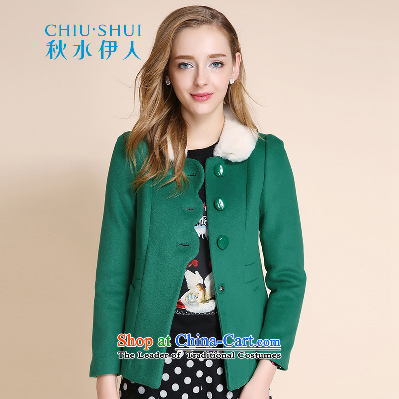 Chaplain who winter clothing new women's gross For detachable loose hair?? gross short jacket coat�0_84A_M Bright Green