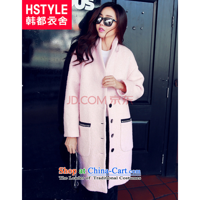 Korea has the Korean version of the Dag Hammarskjöld yi 2015 winter new women's solid color graphics in the thin long hair? jacket EQ5504 pink L