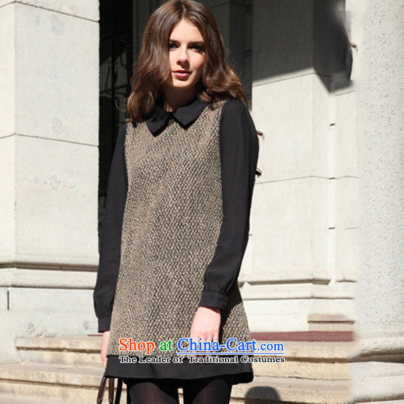 Is 2015 autumn and winter extra women to increase new thick mm sister temperament dresses in Europe long-sleeved wool skirt wear loose? skirt燲XXL Brown