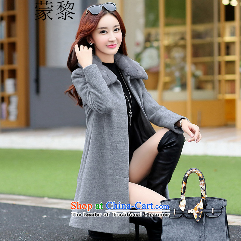 Montevideo Lai Winter 2015 new minimalist oversized really gross washable wool sweater in a wool coat long coats)? female OL commuter gray. M.