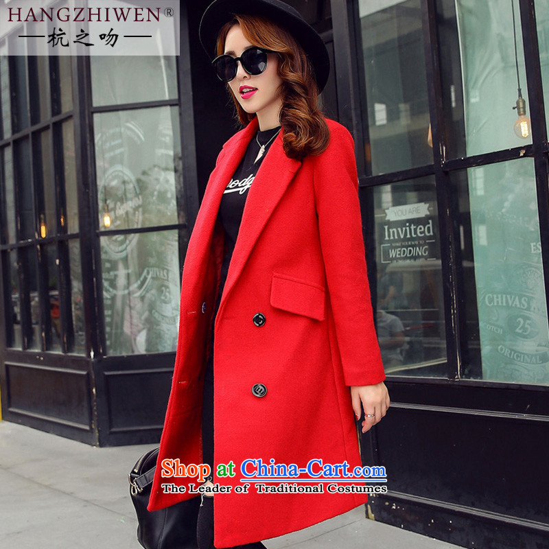 Alejandro Toledo kisses 2015 autumn and winter new Korean version of Sau San video thin long-sleeved double-long hair? jacket female a wool coat replacingJ961 REDS