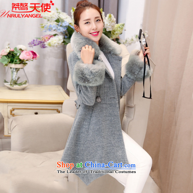 Intractable recalcitrance Angel 2015 autumn and winter new Korean version in the long hair of Sau San? female c-014 coats gray  M