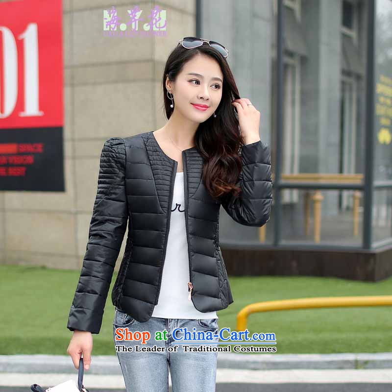 The sea route take the Korean version of the round-neck collar candy colored winter short Sau San, large black5XL JB1020-1 ÃÞÒÂ