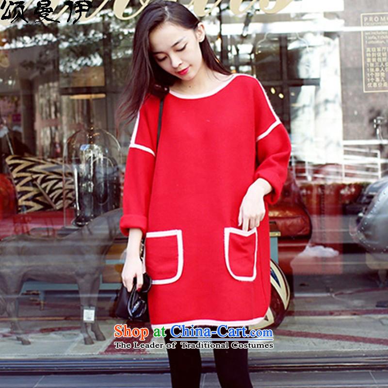 Chung Cayman El2015 autumn and winter new Korean version of Fat MM maximum code relaxd long-sleeved gross dresses?1861RedXXXL female