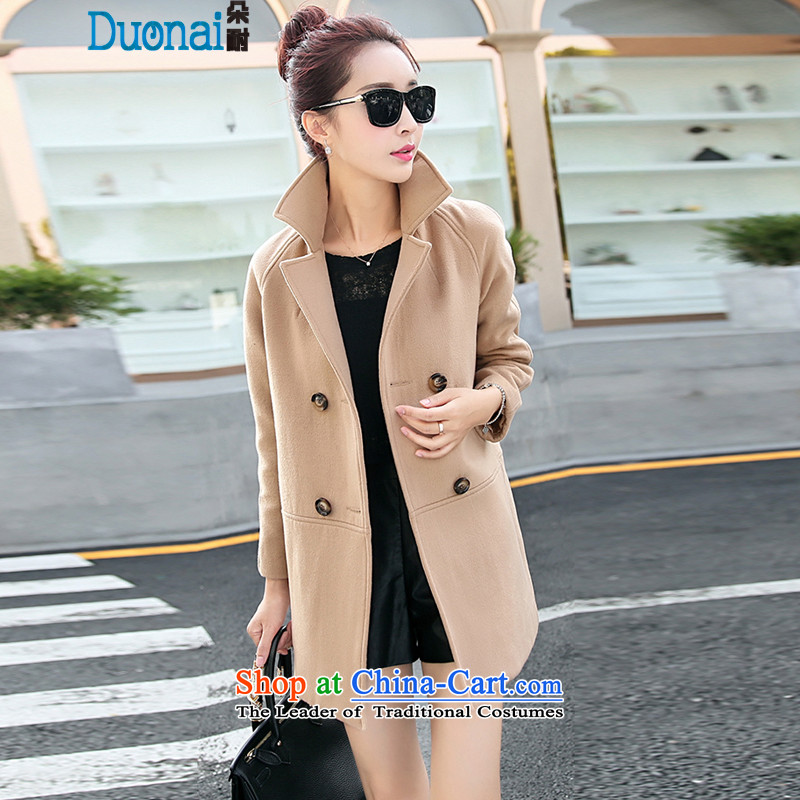 2015 winter clothing new Korean jacket elegant stylish Sau San round-neck collar long-sleeved double row two tablets of detained in long Wild Hair? coats female khaki?M