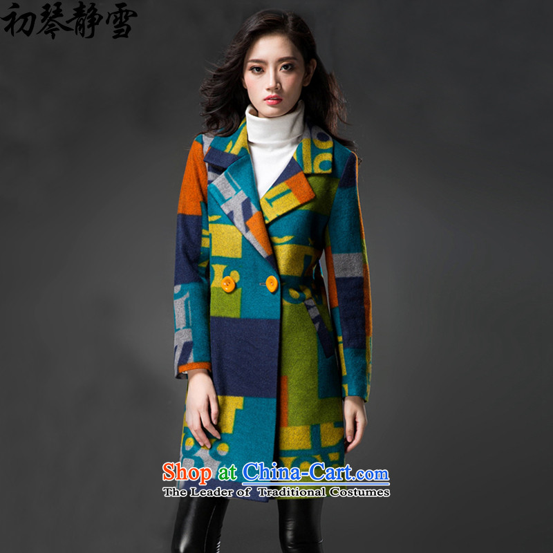 The early Chin Ching snow 2015 autumn and winter new larger female? graphics in thin coat female long wool coat jacket female winter? 1084 Noble Wong L