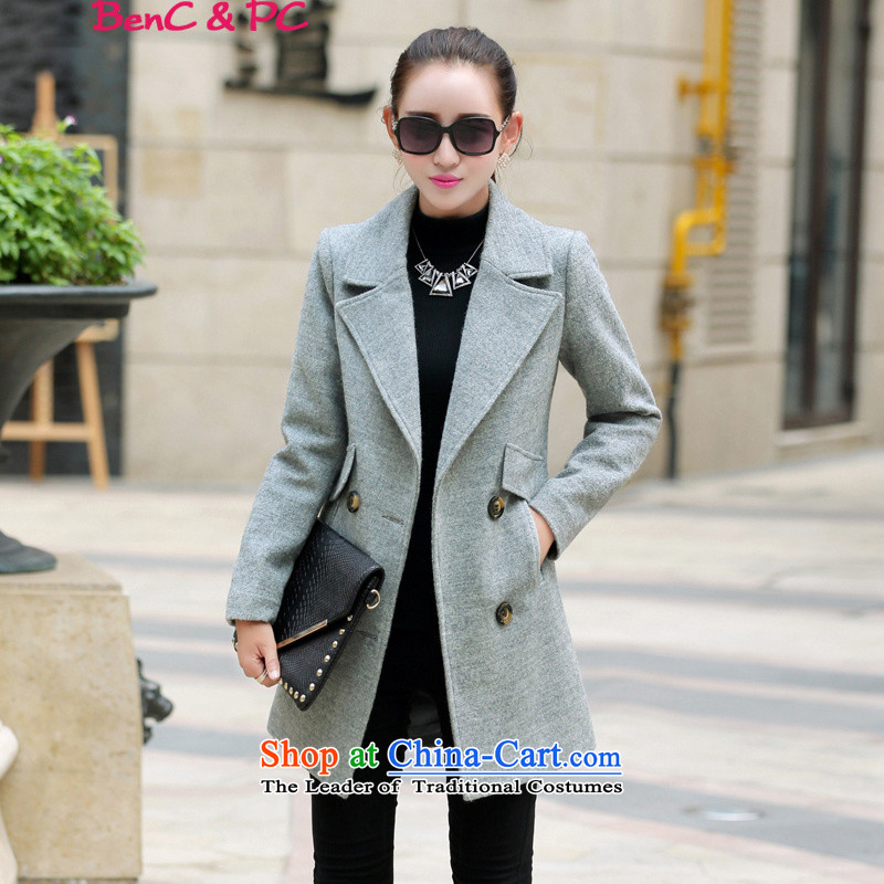 The Korean version of the new 2015 women a coat new products so stylish coat is gross coats thick Autumn and Winter Female Light Gray燲XL