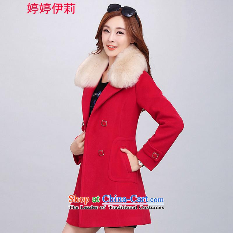 Ms Rebecca Pun, the Reine gross? 2015 Autumn female jacket for women for winter new Korean version of long coats_? female red 2018M
