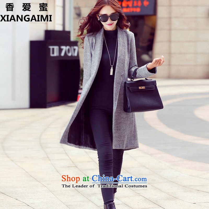 The Champs Elysees Love Honey? jacket women 2015 gross autumn and winter new Korean female decorated gross? graphics are overcoats in thin long a wool coat grayM