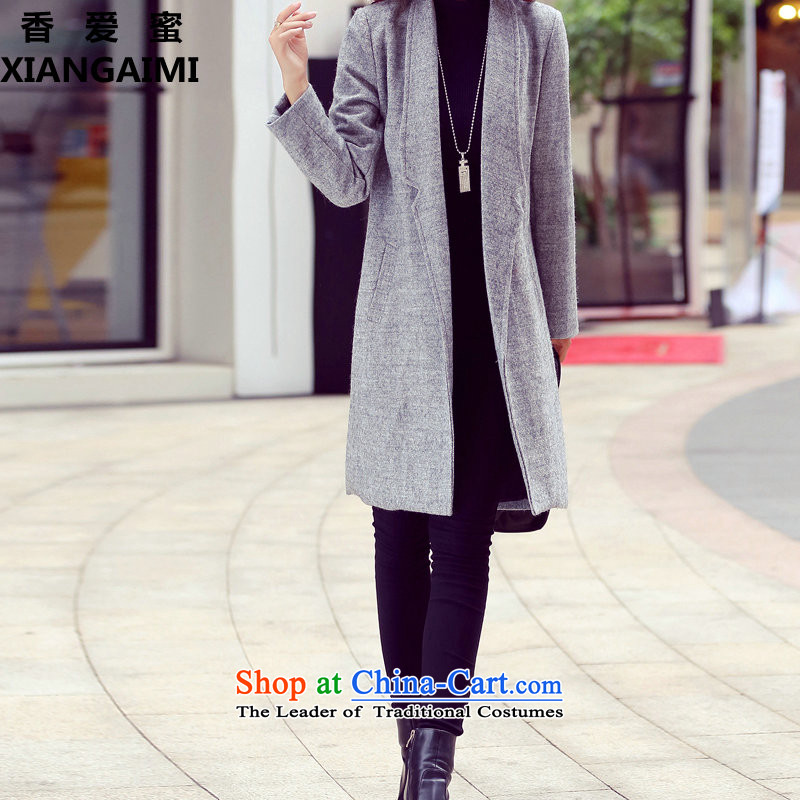 The Champs Elysees Love Honey? jacket women 2015 gross autumn and winter new Korean female decorated gross? graphics are overcoats in thin long a wool coat gray聽M Heung-Love (XIANGAIMI honey) , , , shopping on the Internet