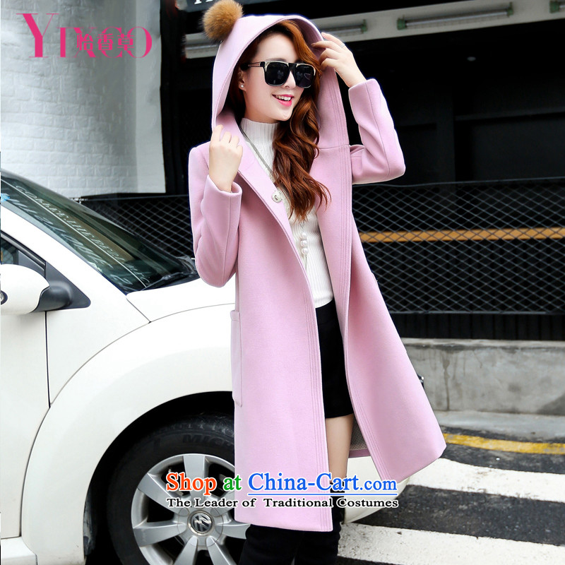 Selina Chow herbs 2015 Fall_Winter Collections new two-sided cashmere overcoat female Korean?   Graphics thin cap wool coat girl in long?_ thick warm pink jacket a燤