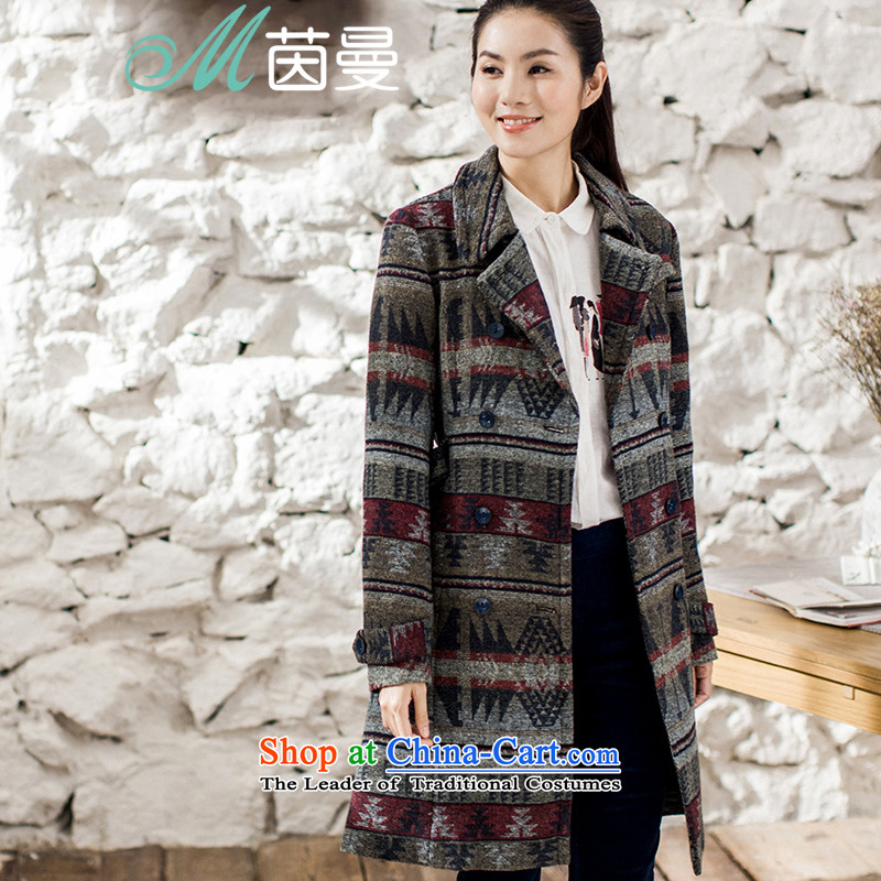 Athena Chu Cayman�15 winter clothing new retro-dyed long coats_? belt thin coat of elections is the video- 8543210146 gray and red燲L