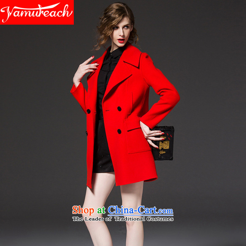 2015 Autumn and winter yamureach new Western gross women in coats? long double-large relaxd wool coat non-Cashmere Red? XL