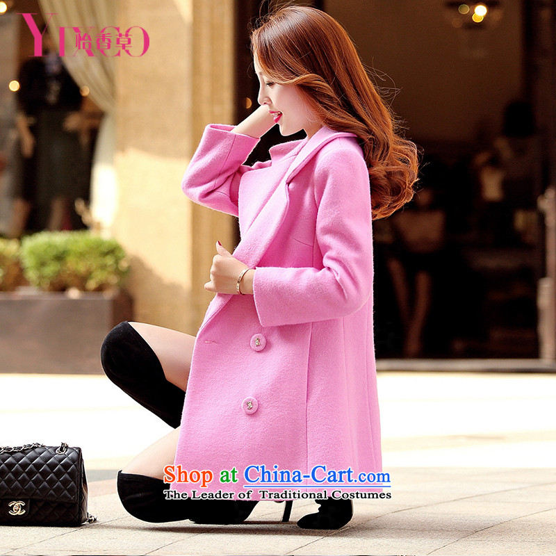 Selina Chow herbs 2015 Fall_Winter Collections of new products Sau San video thin thick wool coat girl in long?_ Korean small incense wind trendy Code women's double-a wool coat of red燤
