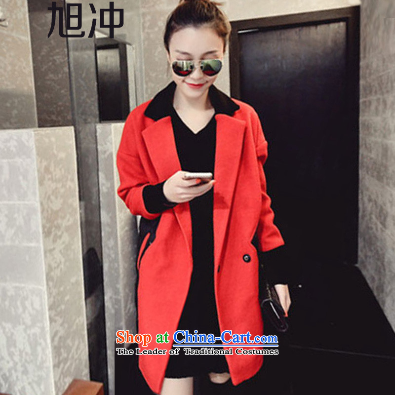 Xu Chong Chau New_ 2015 female woolen stitching? long jacket, thick robe thread cuff cotton coat red cloak燤 code