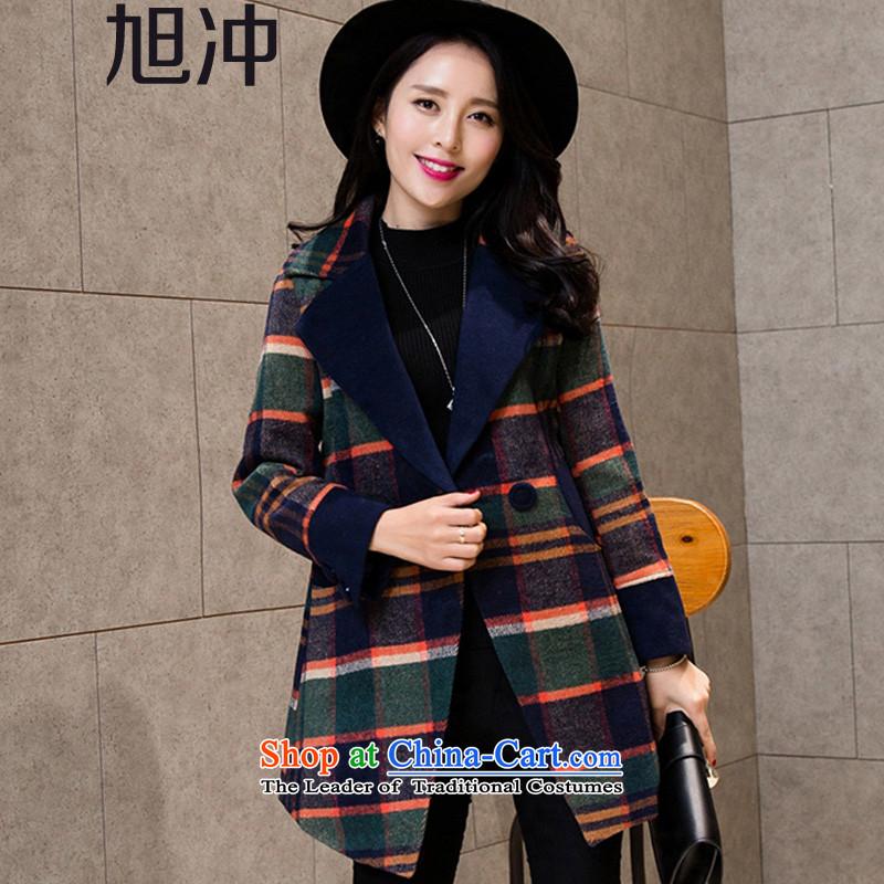 Xu Chong 2015 winter new women's Taliesin Korean Sau San, reverse collar gross double pocketed large jacket? code wool a wool coat Dark Blue燤 code