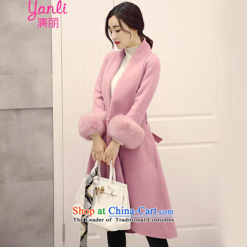Speech Li Mao? 2015 autumn and winter coats female Korean Version) long jacket, YL00062 rouge tonerM