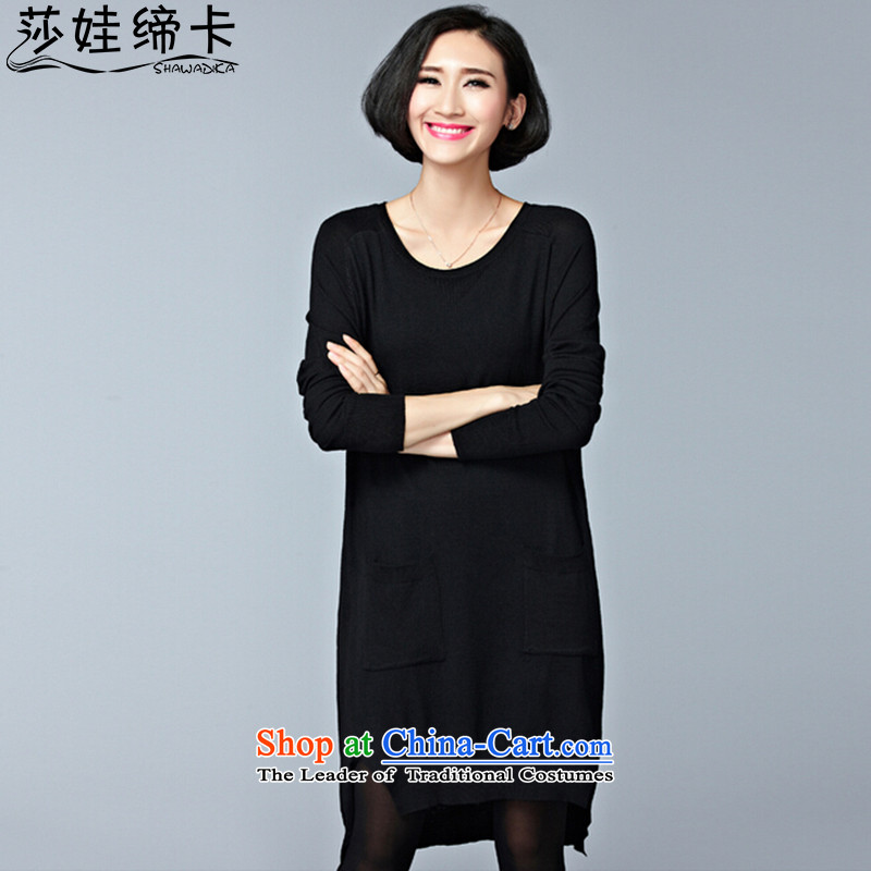 Elisabeth wa concluded card thick sister autumn boxed version of large Korean female autumn shirt, forming the code in the long Neck Knitted Shirt female head kit shirt Ms. Loose thick girls' Graphics thin, Choo-pack Black Large are suitable for 95 to 150