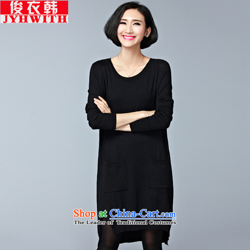 Mr James TIEN Yi woman fall thick with Korea increased to Korean female shirt thick sister larger fall knitted shirts, forming the women hedging sweater jacket large relaxd female video thin outer ground black large numbers are suitable for 95 to 150 yard