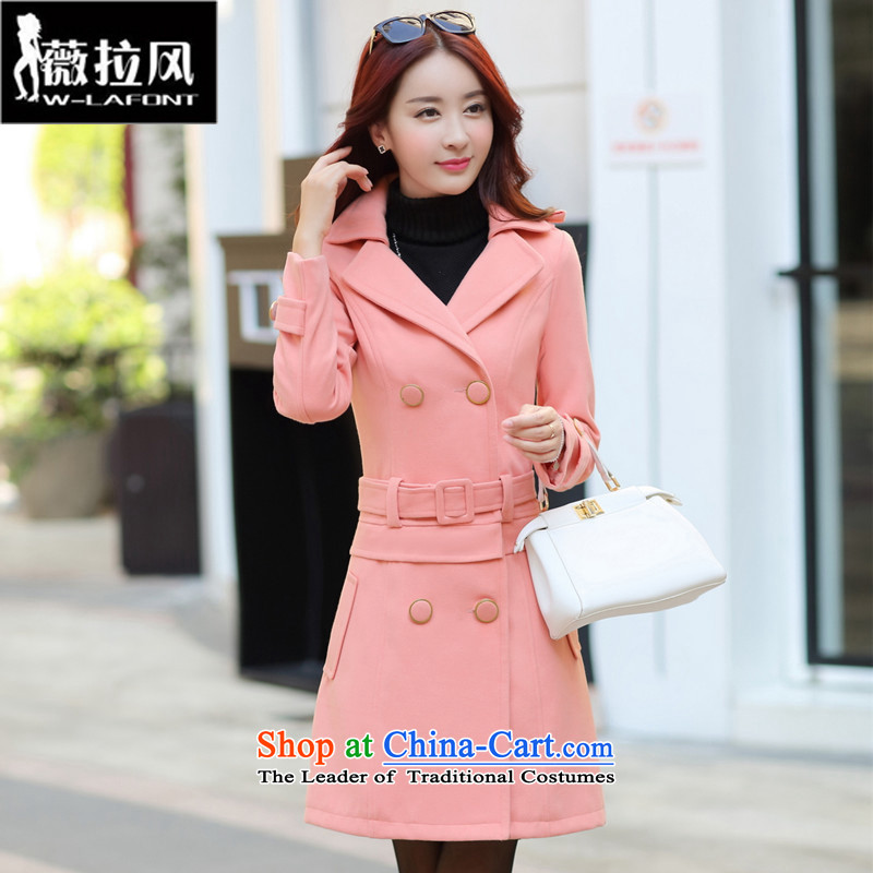 Vera wind 2015 Women's autumn and winter new Korean female jacket is thick hair, long Sau San a wool coat women wearing a two coral redM