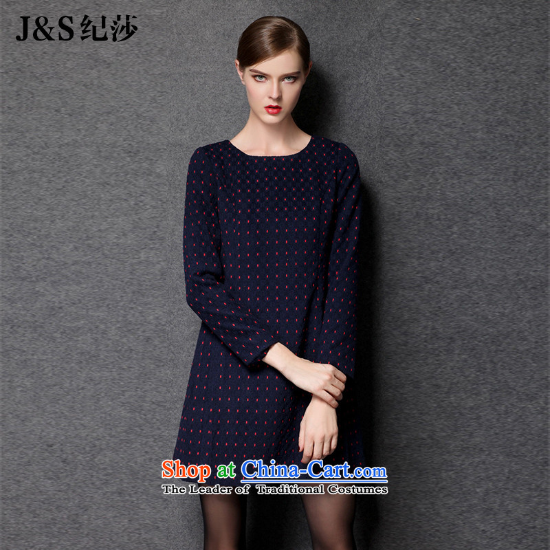 The new 2015 Elizabeth discipline western style large female thick sister Fall_Winter Collections gross forming the so long-sleeved dresses to intensify Foutune of video thin ZR1545- blue 4XL
