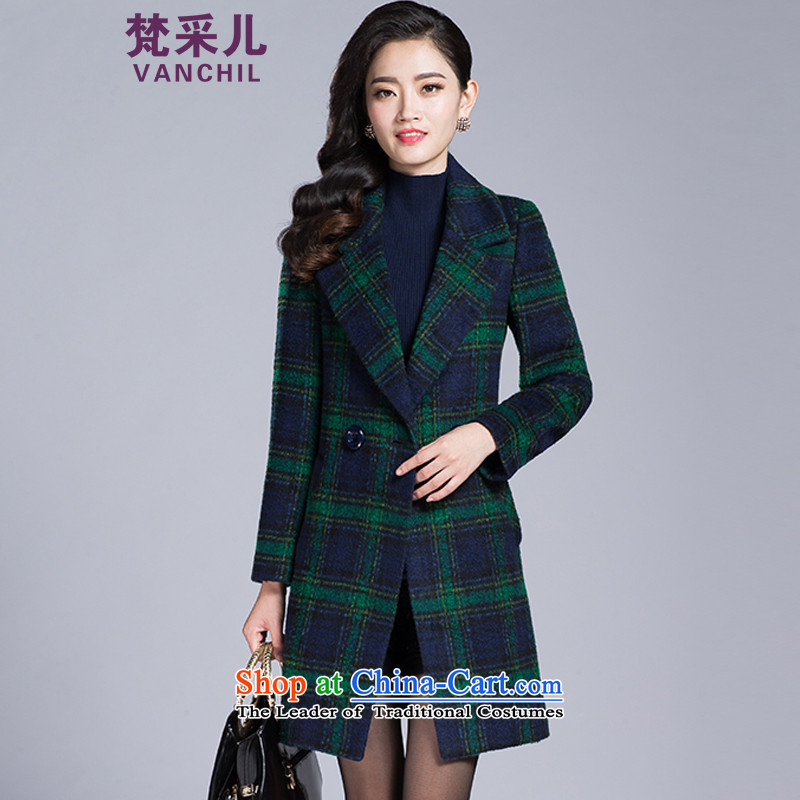 Van Gogh Cherrie Ying autumn and winter new gross? coats that long temperament grid long-sleeved jacket is elegant gross code   8136 Green Grid. L