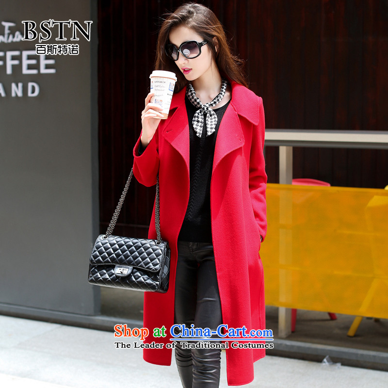 Hundreds of double-sided cashmere overcoat, double-side wool coat new? The lapel in stylish Western style long a windbreaker b9514 red S