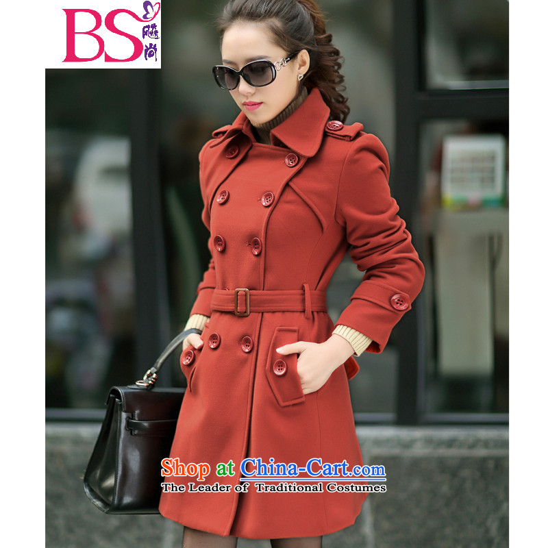 34.37 The new autumn 2015, yet women's original temperament in long-sleeved long Sau San gross large jacket coat? female thick hair sister? 1325 red iron燣 燚etails within the recommended size