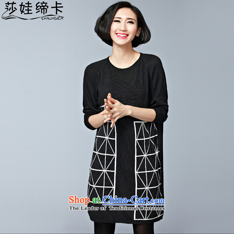 Elisabeth wa girls who enter into card thick graphics thin, Choo replacing female large Sweater Knit-girl kit and mm spring outfits extra-thick people to increase women's wear shirts black large numbers are suitable for 95 to 155 yards catty fertilizer Fe