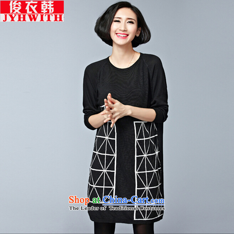 Mr James TIEN Yi Won thick people women larger sister autumn 2015 thick graphics in thin Long Neck Knitted Shirt female Korean Head Kit to increase wear shirts thick black large large Tien numbers are suitable for 95 to 155 yards catty fertilizer Fertiliz