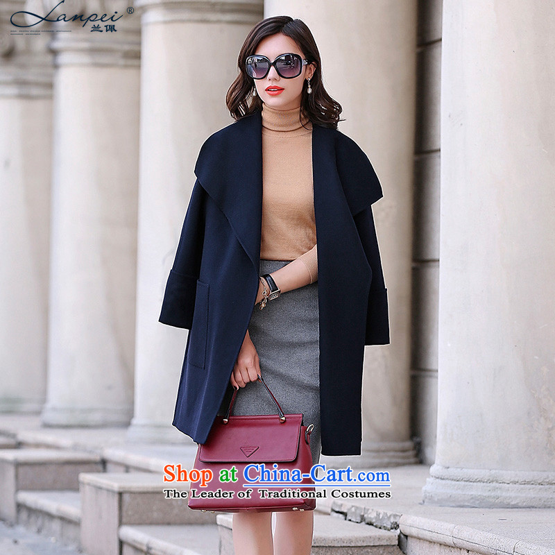 Estimated 2015 Autumn Load New Pei, double-side coats, long lapel Sau San wool a wool coat jacket color navy M