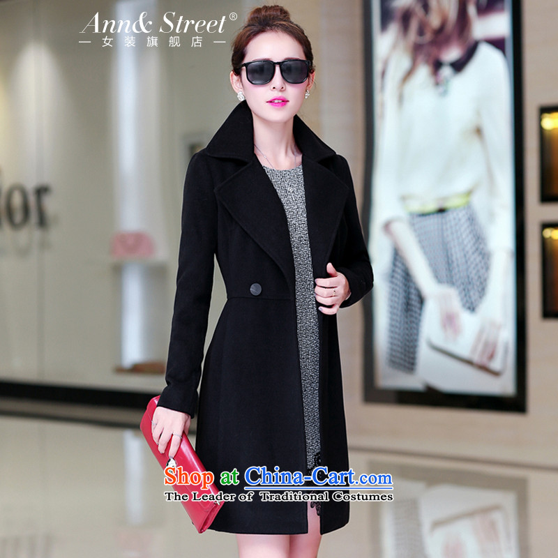 Anne Road 2015 new Korean version of autumn and winter long stylish and elegant a jacket wild video thin coat of Sau San Mao? female black 8060 L