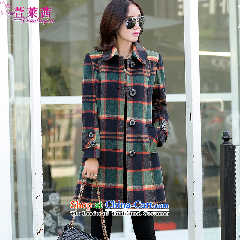 Xuan, Mrs Ure�15 autumn and winter New England style lapel in women's long Sau San Mao jacket coat grid girls? LATTICED燲XL