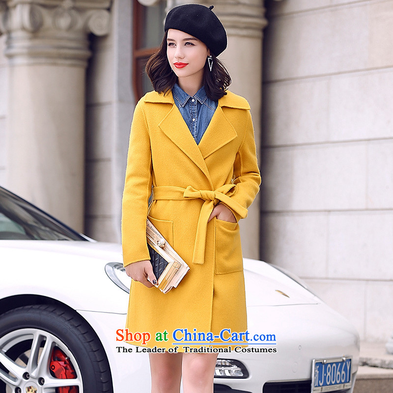 In the燼utumn of 2015, the new Pei Foutune of video thin double-side wool a wool coat girl in long hair? jacket yellow燣