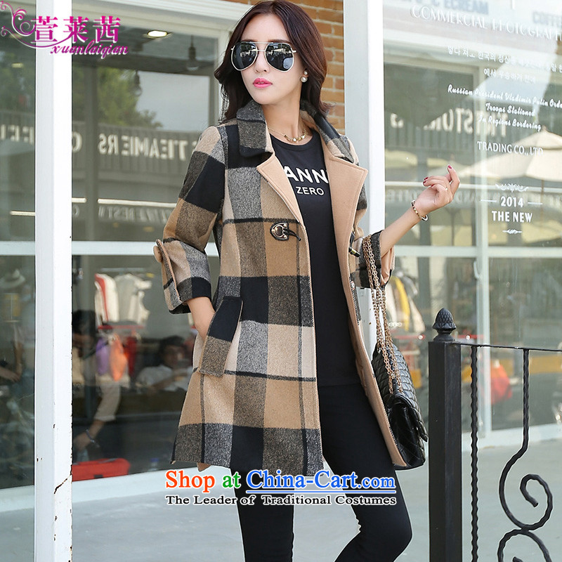 Xuan, Mrs Ure2015 winter long large compartments single row clip hair? 7 cuff loose coat female card its GRIDL