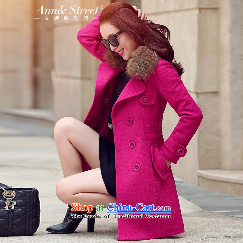 Anne Road 2015 new Korean autumn lapel solid color in the medium to long term, a wool coat women's stylish coat women rose so gross red L