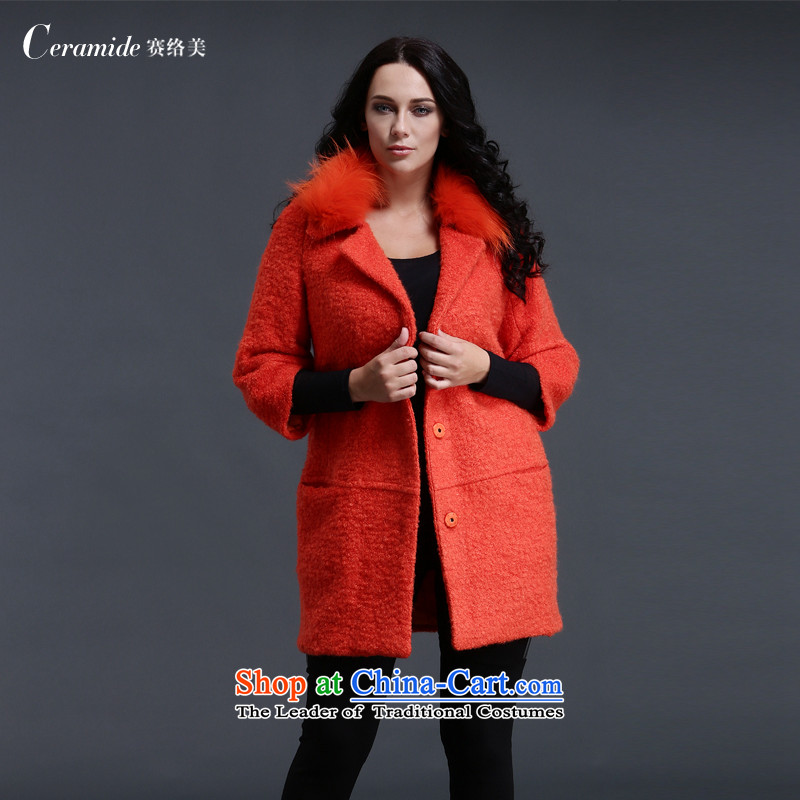 2015 winter clothing new larger women's gross female Korean jacket? Wind Jacket girl in long thin Cashmere wool is video-coats lapel of Sau San wool a wool coat orange L