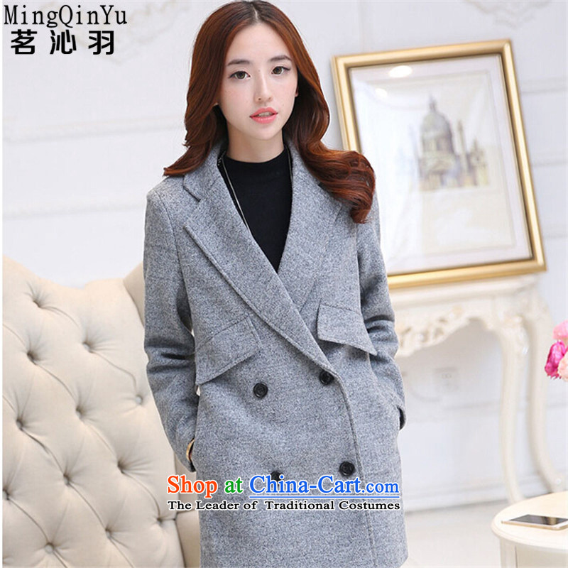 Tea Culture Qinyang Yu 2015 autumn and winter new Korean women in large long Sau San a wool coat gross wind jacket? gray聽XXL