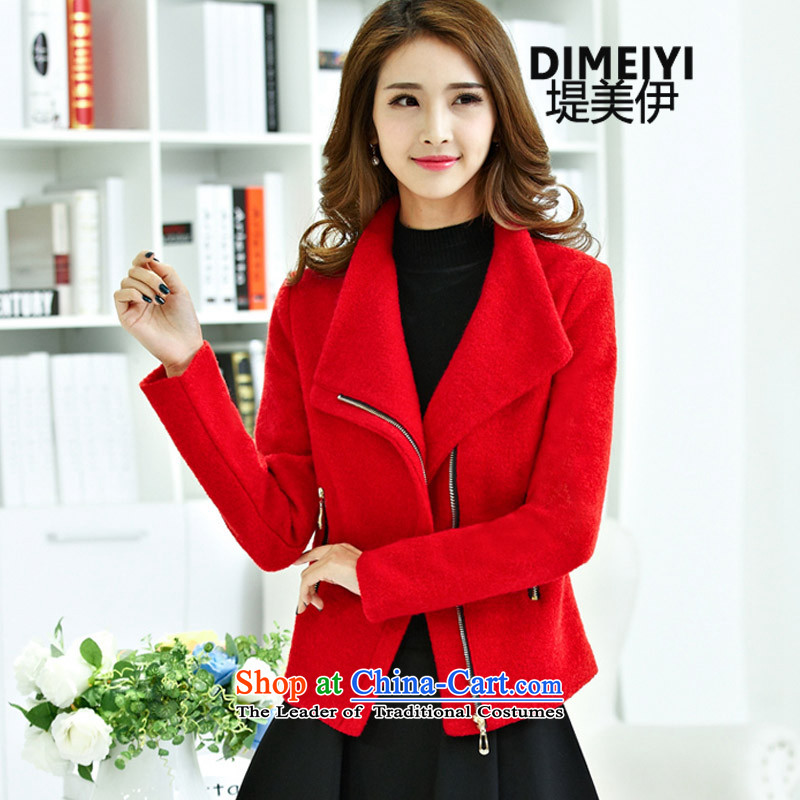 Entities of the United States and Iraq of autumn and winter 2015 new small Heung-aristocratic Women's jacket? gross short of Sau San coats red燲L