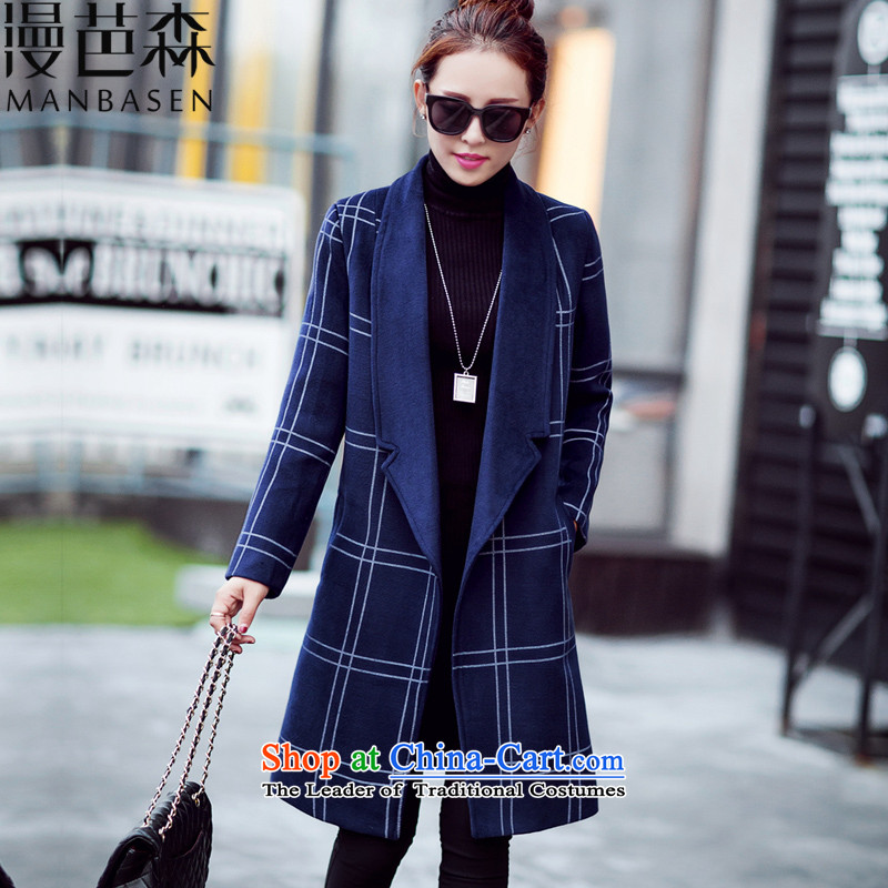 Diffuse and sum�15 Fall_Winter Collections new coats girl Won_? Edition Leisure and latticed gross jacket female load spring and autumn? a medium to long term, Navy燣