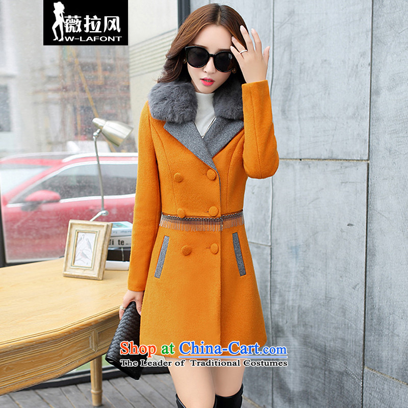 Vera wind of autumn and winter 2015 new Korean version is smart casual Foutune of medium to long term, wool large roll collar really gross double-jacket coat gross Sau San?' Kim Ho燤