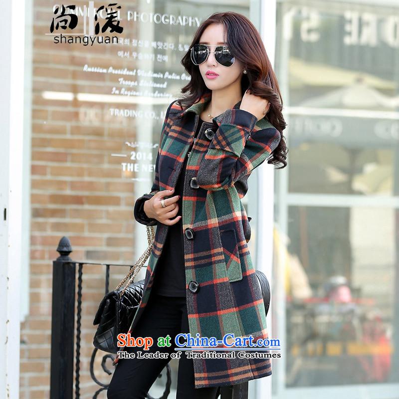 Yet the new style winter 2015 婀� fashion, long latticed single row detained Korean Sau San Invoiceable wool coat female latticed聽L105-115? catty