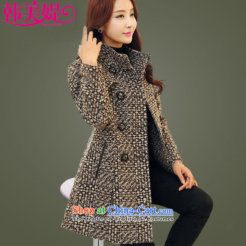 The Korea-U.S. customers Gross? for winter coats women 2015 new Korean version of large numbers of Sau San cashmere overcoat M038 Brown燤