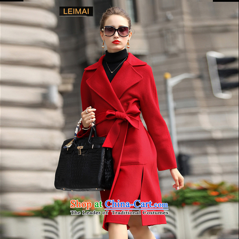 Mine-mai (LEIMAI) 2015 autumn and winter coats new double-side female two-sided cashmere overcoat girl in Europe long wool coat red S