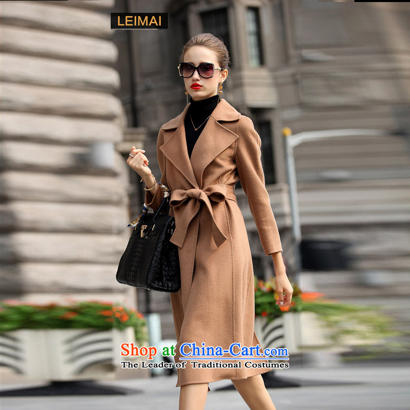 Mine-mai (LEIMAI) 2015 autumn and winter coats new double-side in long double-sided cashmere overcoat hand-made woolen coats of Sau San plain and color S