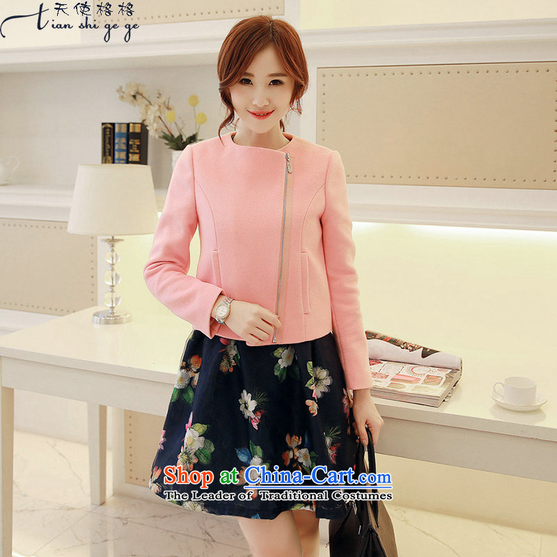 The interpolator Angel 2015 Winter New Women Korean short, zipper female woolen coat long-sleeved jacket coat? female gross pink M